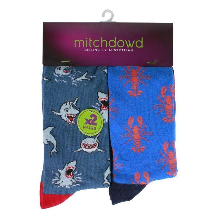 MITCH DOWD 2pk Shark and Lobster Socks
