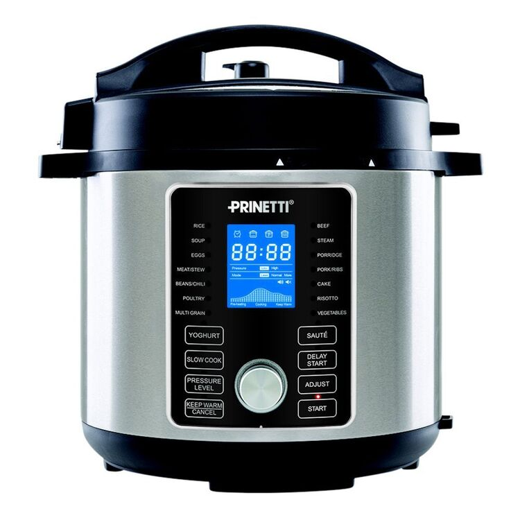 PRINETTI 6L Pressure Cooker with LCD Display Stainless Steel