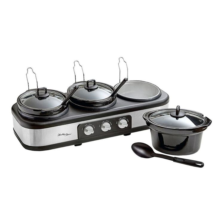 HEALTHY CHOICE 3 POT SLOW COOKER STAINLESS STEEL/BLACKSC3-250SS