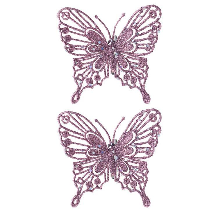 SOREN 2pc Butterfly Ornament Pink