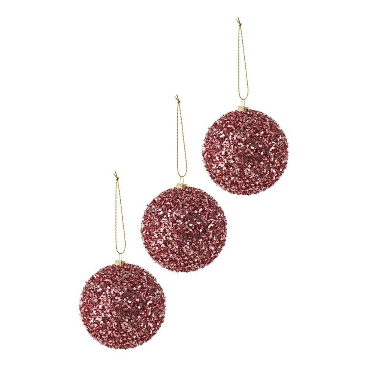 SOREN 3pc Glitter Bauble Pink