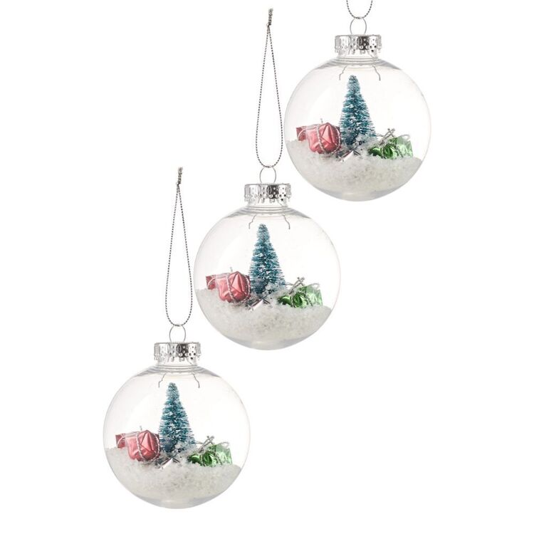SOREN 3pc Bauble with Tree and Gift Inside Ornament