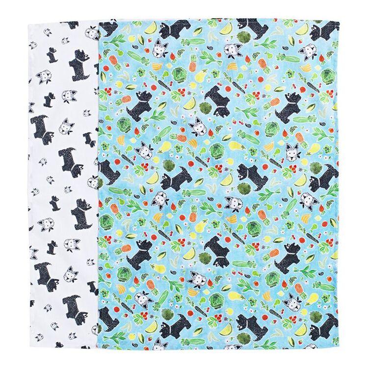 POH LING YEOW FOR MOZI Rhino + Tim Tea Towel Set 50x70cm Blue