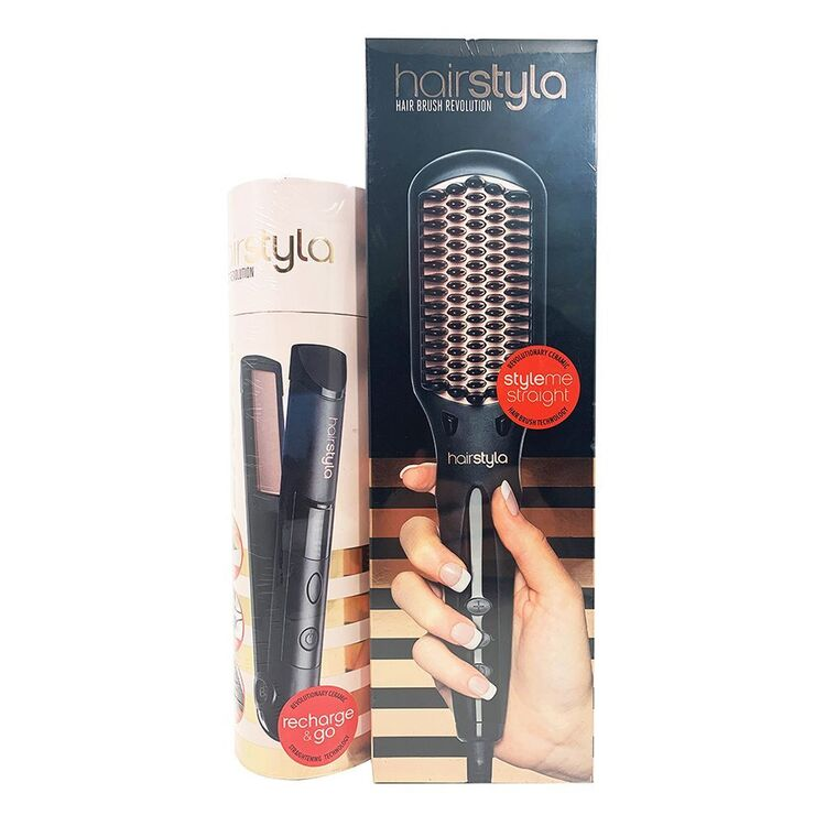 HAIRSTYLA HBR Brush Rose Gold Bundle with Move Straightener