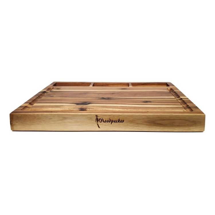 CLASSICA WOODPECKER ACACIA RECTANGLE BOARD WITH IN BUILT BOWLS 48CM