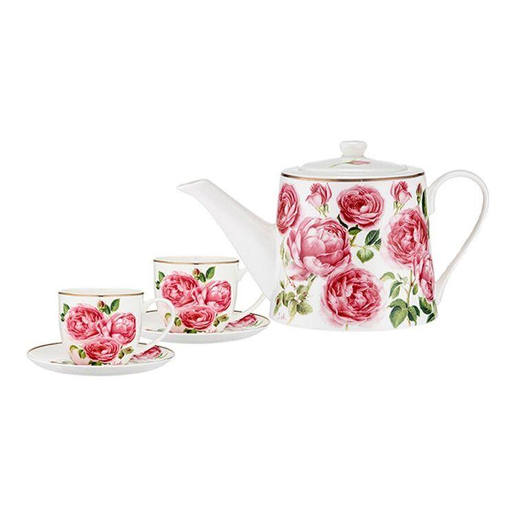 ASHDENE Heritage Rose Teapot + 2 piece Teacup Set
