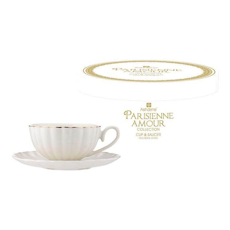 ASHDENE Parisienne Amour Cup + Saucer WHITE