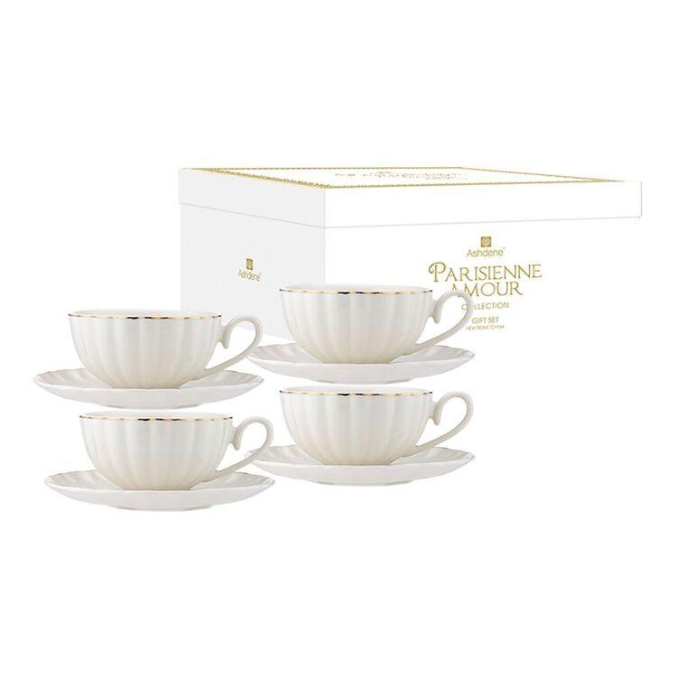 ASHDENE Parisienne Amour 4 piece Cup + Saucer Set WHITE