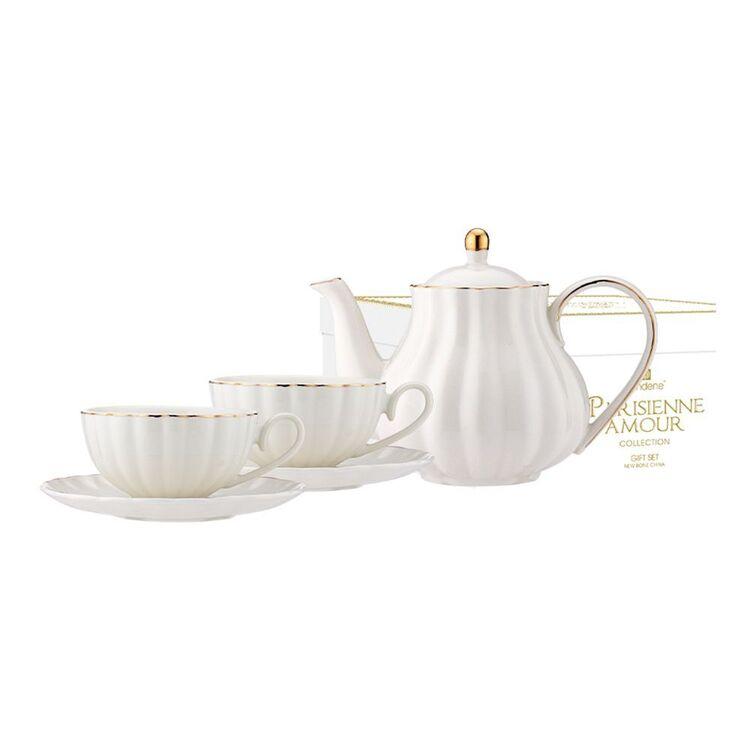 ASHDENE Parisienne Amour Teapot + 2 piece Teacup Set WHITE