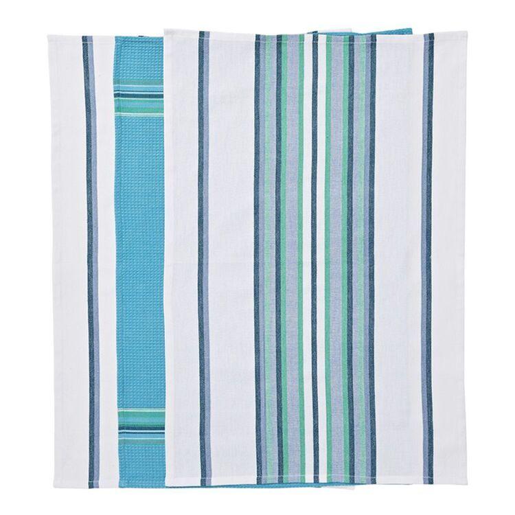 SMITH & NOBEL Reims 3pk Tea Towels Cool 45x70cm