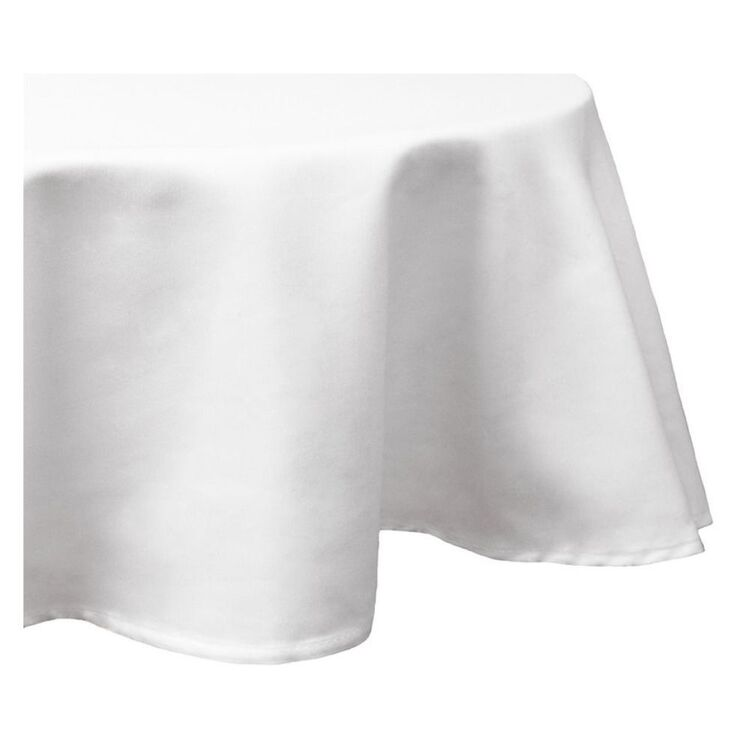 JUST HOME Cuisine Round Tablecloth White 180cm