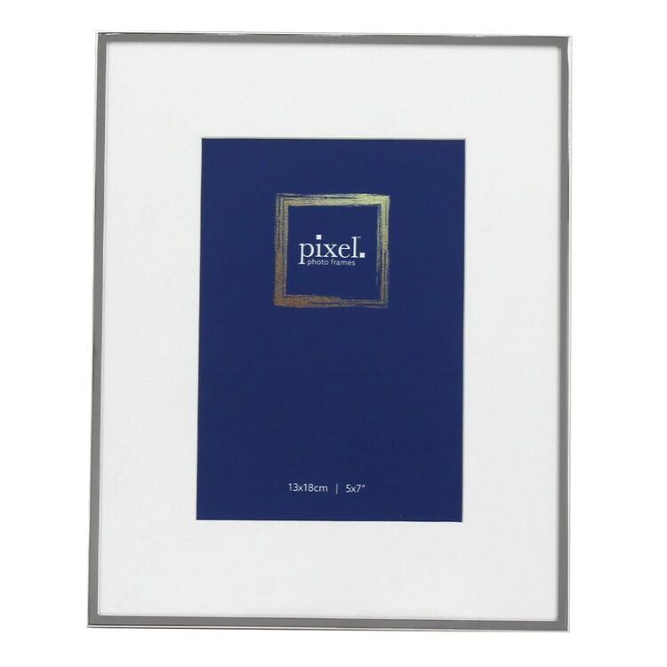 PIXEL 13 x 18cm Ruby Silver Photo Frame with Mat