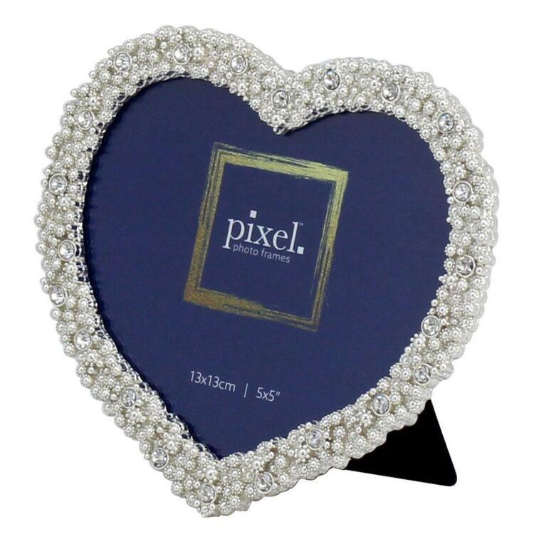PIXEL 13 x 13cm Grace Silver Heart Photo Frame
