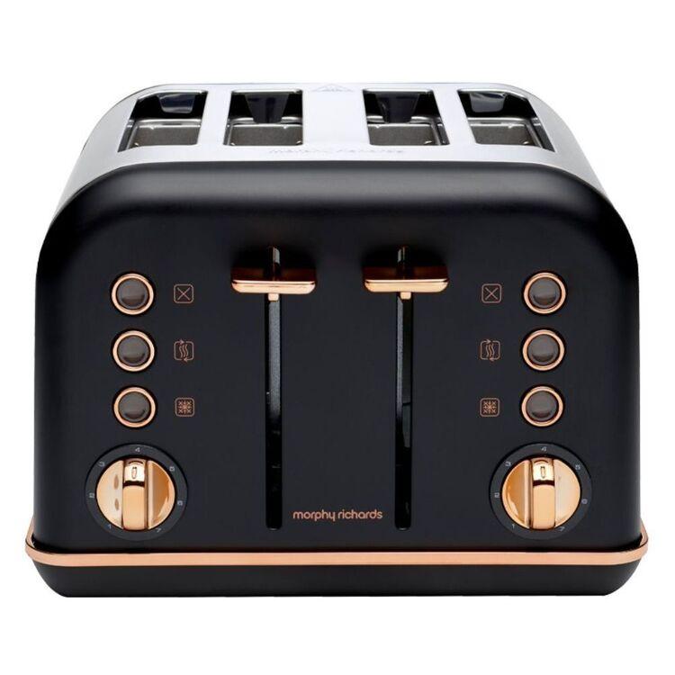 MORPHY RICHARDS Accents Rose Gold Toaster - Matte Black