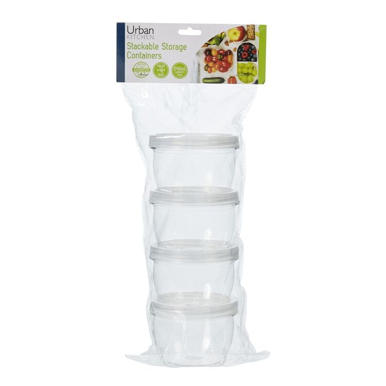 NO BRAND Stackable Storage Containers Twist 4pc 240ml
