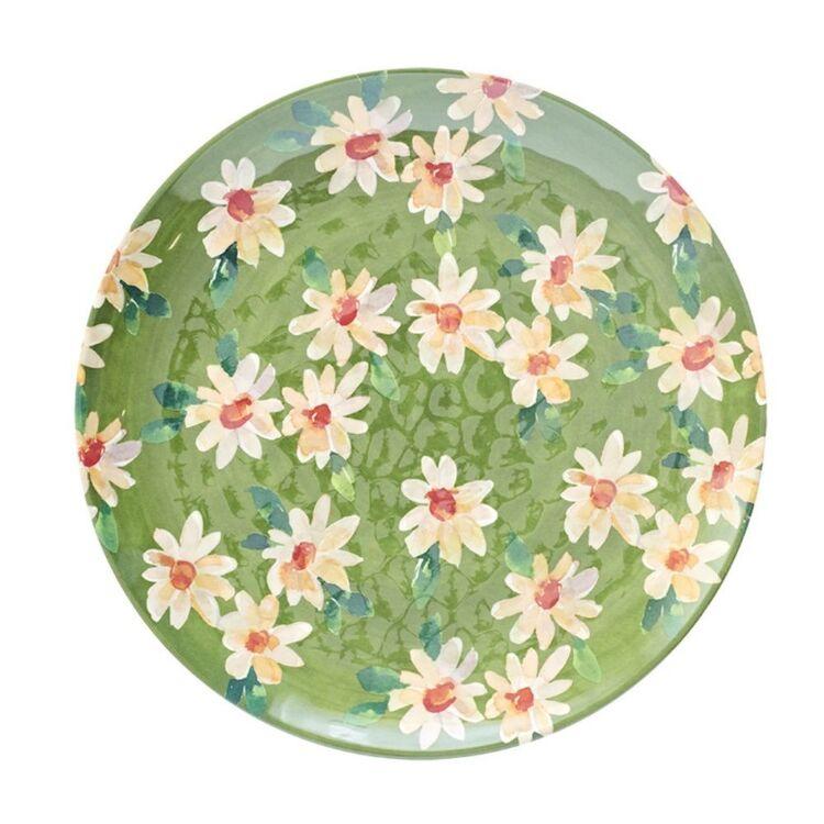 SOREN FIELDS OF FLOWERS SALAD PLATE GRN