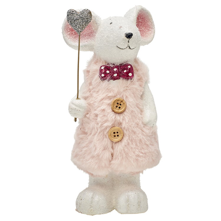 SOREN 22CM MOUSE WITH HEART WHITE/PINK