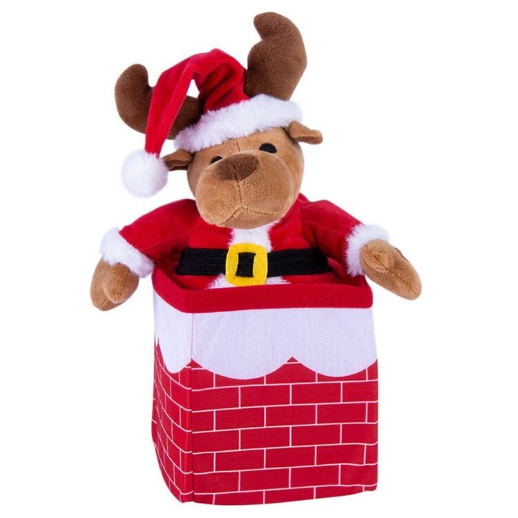 CHRISTMAS CHARM Musical Reindeer In and Out of Chimney 30cm