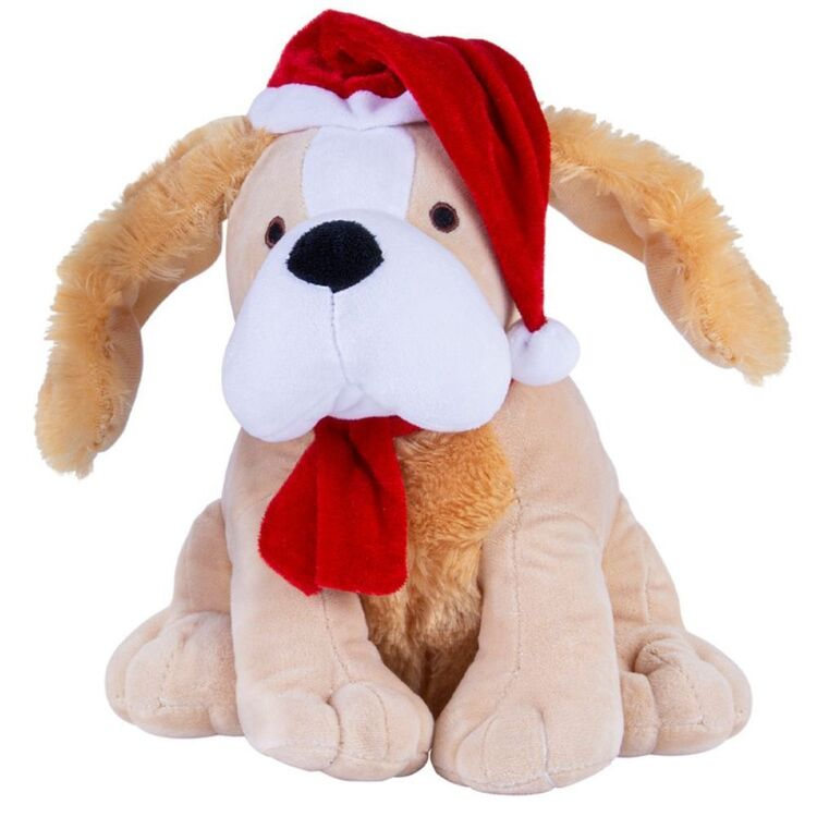 CHRISTMAS CHARM Musical Dogs Singing Jingle Bells Flapping Ears with Santa Hat 25 cm