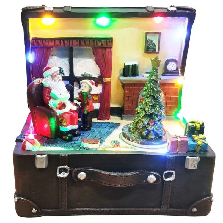 CHRISTMAS CHARM Musical Santa in Suitcase with Fireplace and Spinning Tree USB 19 x 19 cm